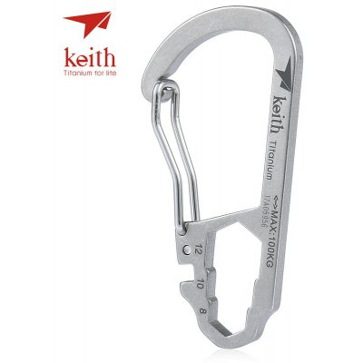 Keith Ti1151 Titanium Carabiner Key Chain with Ruler Wrench