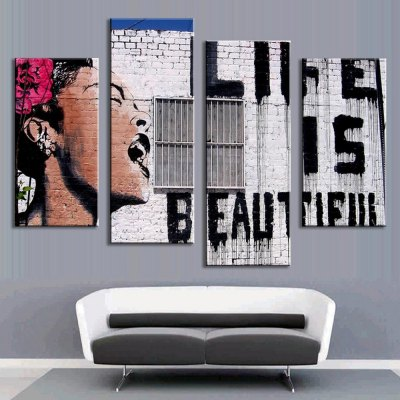 4PCS Printed Western Style Painting Canvas Print