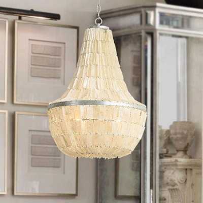 American Rural Shell Bedroom Restaurant Pendant Light 220VPendant Light<br>American Rural Shell Bedroom Restaurant Pendant Light 220V<br><br>Battery Included: No<br>Bulb Base: E14<br>Bulb Included: No<br>Chain / Cord Adjustable or Not: Chain / Cord Adjustable<br>Chain / Cord Length ( CM ): 50cm<br>Features: Eye Protection<br>Fixture Height ( CM ): 66.8cm<br>Fixture Length ( CM ): 46cm<br>Fixture Width ( CM ): 46cm<br>Light Direction: Downlight<br>Number of Bulb: 3 Bulbs<br>Number of Bulb Sockets: 3<br>Package Contents: 1 x Light, 1 x Assembly Parts<br>Package size (L x W x H): 55.00 x 55.00 x 55.00 cm / 21.65 x 21.65 x 21.65 inches<br>Package weight: 14.0400 kg<br>Product weight: 13.0000 kg<br>Remote Control Supported: No<br>Shade Material: Iron, Shell<br>Style: Modern/Contemporary<br>Suggested Room Size: 20 - 30?<br>Suggested Space Fit: Bedroom,Dining Room,Kids Room,Kitchen,Living Room,Study Room<br>Type: Pendant Light, Chandeliers<br>Voltage ( V ): AC220