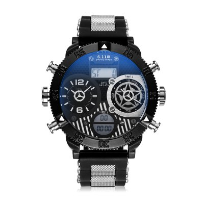 6.11 8159 - A Multifunctional Male WatchMens Watches<br>6.11 8159 - A Multifunctional Male Watch<br><br>Band material: Silicone<br>Band size: 24 x 2m<br>Brand: 6.11<br>Case material: Alloy<br>Clasp type: Pin buckle<br>Dial size: 5 x 5 x 1.2cm<br>Display type: Analog-Digital<br>Movement type: Quartz + digital watch<br>Package Contents: 1 x Watch<br>Package size (L x W x H): 26.00 x 7.00 x 3.20 cm / 10.24 x 2.76 x 1.26 inches<br>Package weight: 0.1900 kg<br>Product size (L x W x H): 24.00 x 5.00 x 1.20 cm / 9.45 x 1.97 x 0.47 inches<br>Product weight: 0.1500 kg<br>Shape of the dial: Round<br>Watch mirror: Acrylic<br>Watch style: Fashion<br>Watches categories: Men