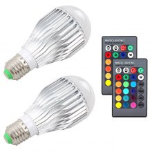 2pcs 10W RGB Color Changing Light Bulbs E27 LED RGB Lamp with Remote Control Christmas Wedding Party Lamps
