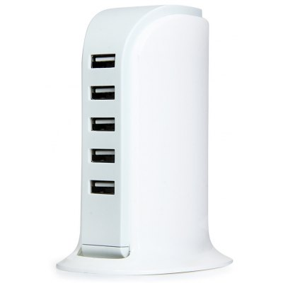 Multi - use 5 USB Ports 30W Charger Over - current Protection Power Adapter for iPhone iPad iPod Samsung HTC - 100 - 240V EU Plug
