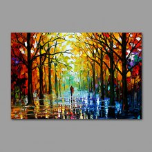 Hand Painted Colorful Tree-lined Trail Oil Painting