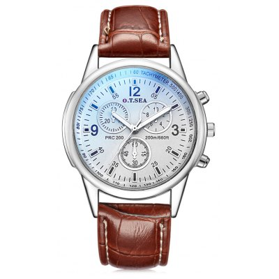 O.T.SEA S - 1065 Leather Band Men Quartz Watch