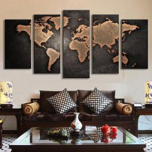 5PCS Retro World Map Printed Canvas Print Unframed Wall Art