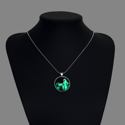 Copper Plated Silver Halloween Ghost Pendant Luminous Women Necklace