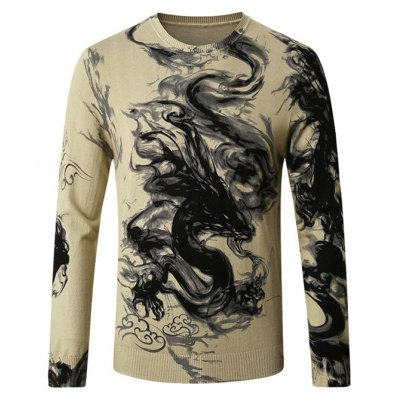 Male Stylish Chinese Dragon Ink-wash Painting Printing Sweater