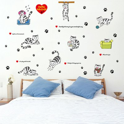 LAIMA Cute Cat Wallpaper Removable Waterproof Wall Sticker Home Decoration
