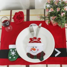 Snowman Style Forks Knives Holder Decorative Flatware Cover