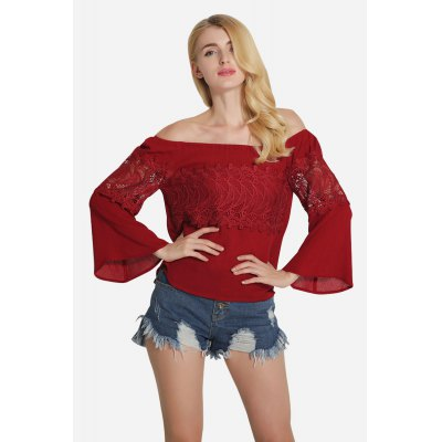 Off Shoulder Lace Jointed Thin Short T-Shirt for Women