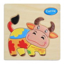 Wooden Tangram Jigsaw Puzzles with Cartoon Style