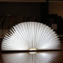 ZBOLE Foldable Paper Book Wooden Lamp