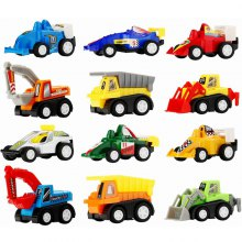 Mini Construction Pull-back Vehicle and Racing Car 12pcs for Children