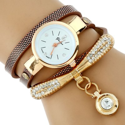 Unique Multilayer PU Strap Women Quartz Watch