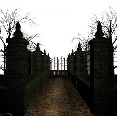 Halloween Iron Gate Silk Photography Background Cloth