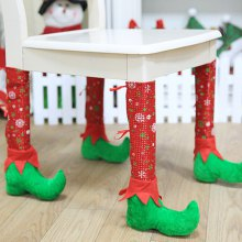 Christmas Boot Pattern Decorative Chair Legs Cover 1pc