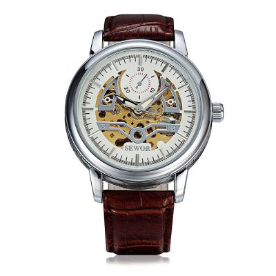 SEWOR SEW0R045 Leather Band Mechanical Men Watch