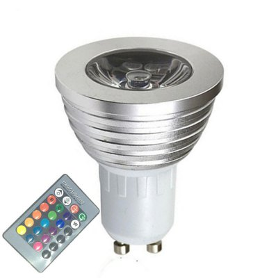 OMTO GU10 3W RGB Color Changing LED Spotlight with IR Remote Control Mood Ambiance Lighting 16 Color Dimmable 85 - 265V