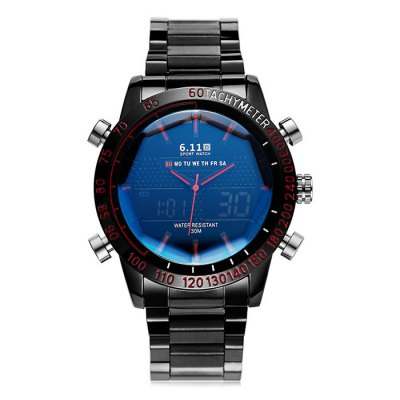 6.11 Men LED Digital Analog Display Trendy Wrist Watch