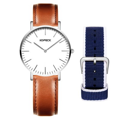KOPECK 6001G Genuine Leather Band Men Quartz Watch