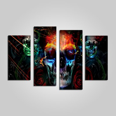 God Painting Modern Skull Frameless Canvas Print 4PCS