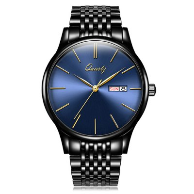 ANGELA BOS Men Date Display Steel Band Quartz Watch