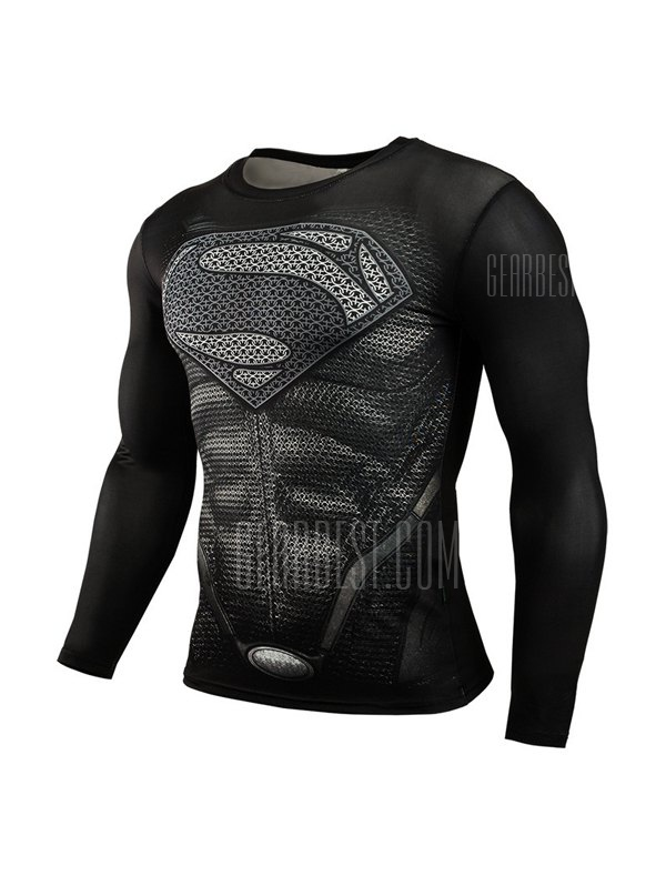 Long Sleeves Quick Dry 3D Pattern Printed T-shirt for Men