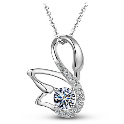 T400 925 Silver Women Elegant Zircon Necklace Pendant