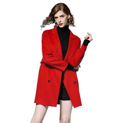 Women Double-breasted Fitted Woolen Overcoat