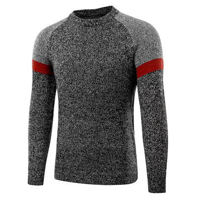 Fashion Round Neck Spliced Sweater for Men