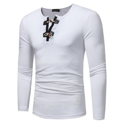 WSGYJ Male Pure Color Long Sleeve T-shirt