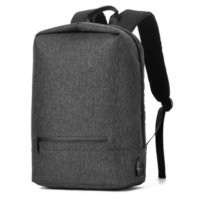 Men Splicing Water-resistant Canvas Backpack with USB Port
