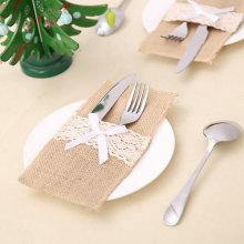 Elegant Knives Holder Lace Edge Flatware Cover 1PC