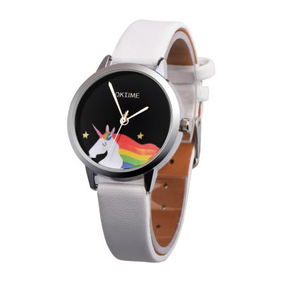 Leather Band Rainbow Unicorn Dial Unisex Student Watch