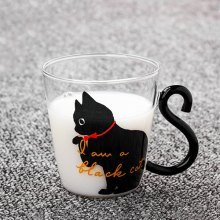 220ml Cat Glass Mug Coffee Cup with English Words for Home