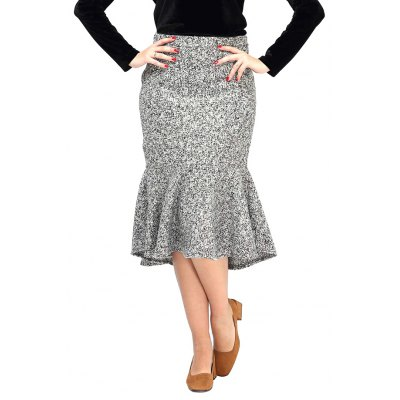 High-waisted Gray Mermaid Skirt