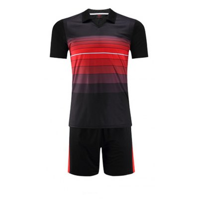Male Turn-down Collar T-shirt / Shorts Sports Suit