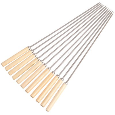 Skewer Stainless Steel Stick Needle Wooden Handle 25PCS
