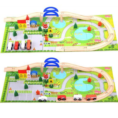 City stat Overpass Traffic Scene Combination Wooden Toy 40PCS
