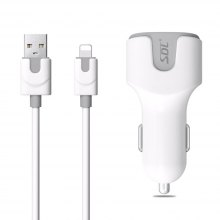 SDL Dual USB Car Charger with 8 Pin Cable