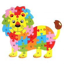 Wooden Lion English Letters Puzzle Game Kit