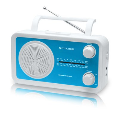 Muse M-05BL Personal Analógica Azul Color blanco radio