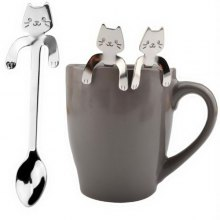 One Piece Cute Cat Pattern Flatware Long Handle Spoon