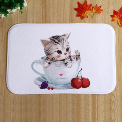 Absorbent Polyester Floor Mat Cute Cat Style Carpet