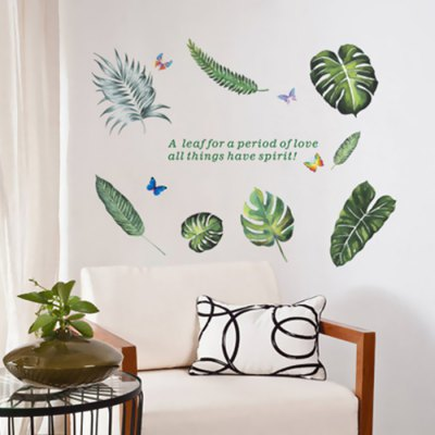 Creative Green Leaves Wall Sticker 1pc
