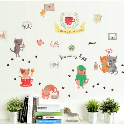 AY - BS03 Removable Wall Sticker Cute Cat Pattern