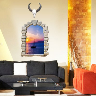PVC Wall Sticker 3D Sunset Landscape Style Mural Decal