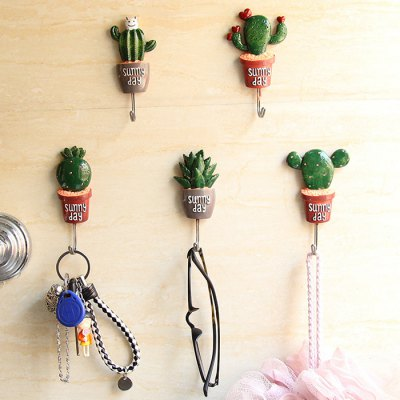Creative Stainless Steel Cactus Sticky Hook 1PC