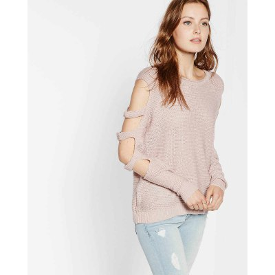 Cut Out Sleeve Knitted Sweater