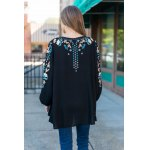 cheap Tiny Floral Embroidery Peasant Blouse